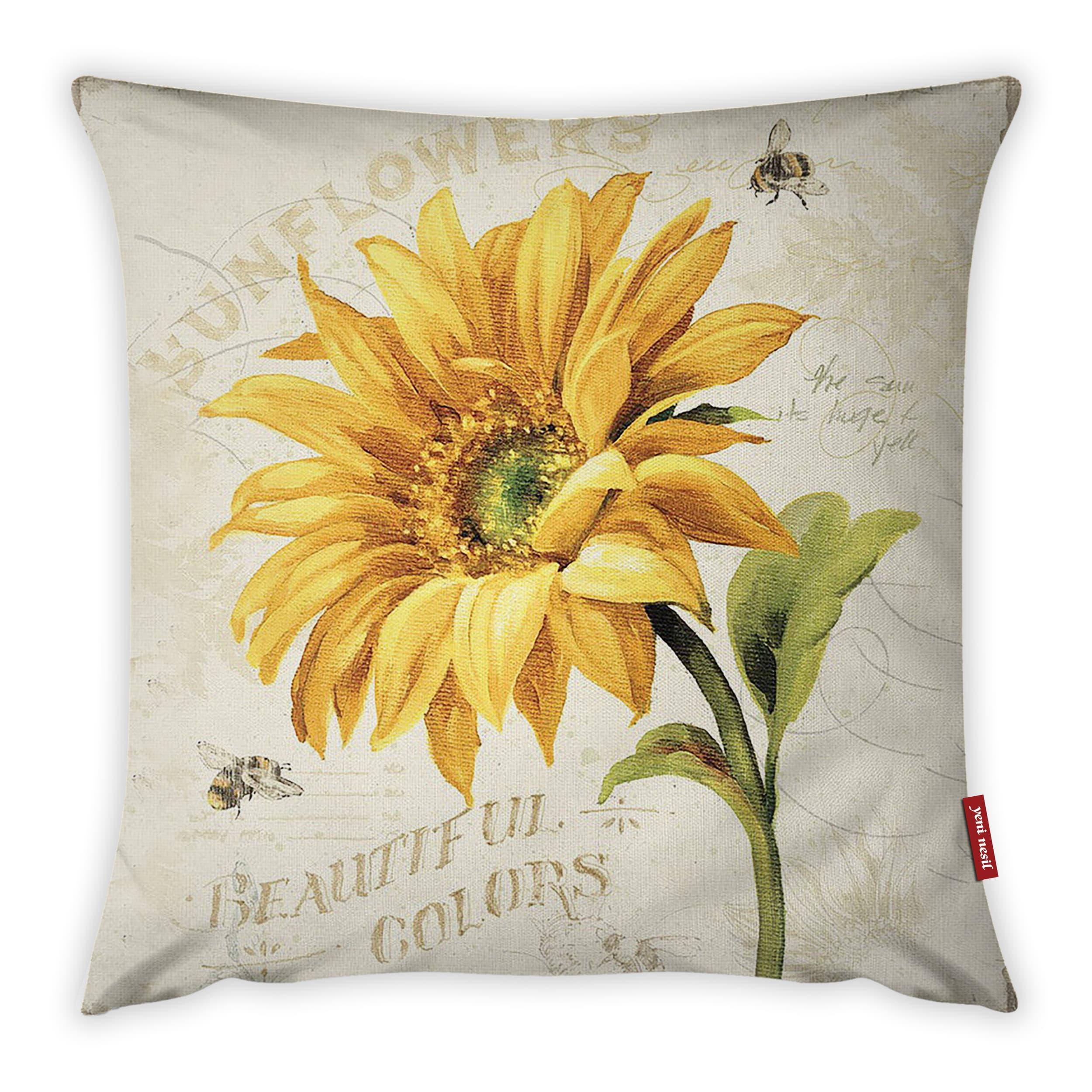 Fata de perna Sunflower YK1082 Multicolor, 42 x 42 cm