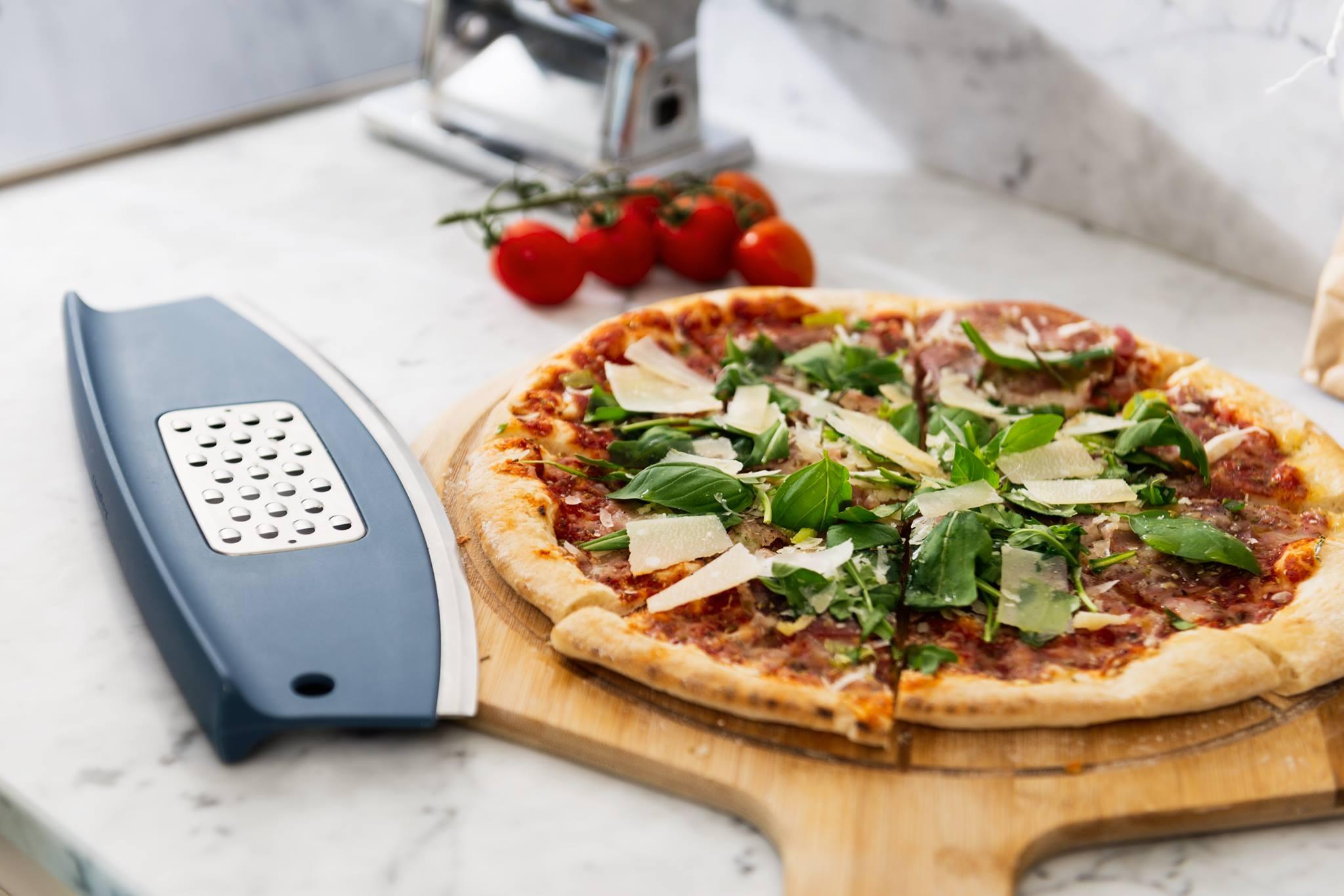 Feliator cu razatoare pentru pizza Leo Line Albastru, 30 cm imagine