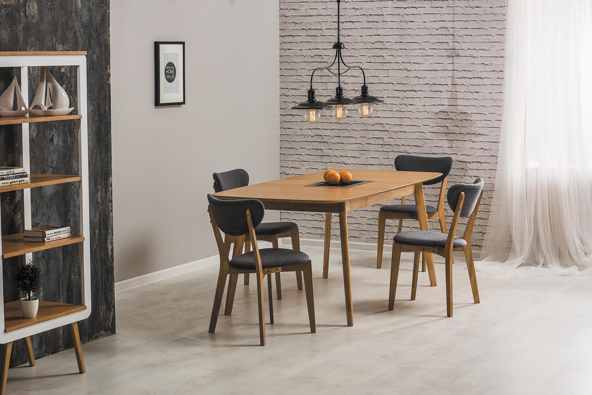 Set masa extensibila Felicio Stejar + 4 scaune