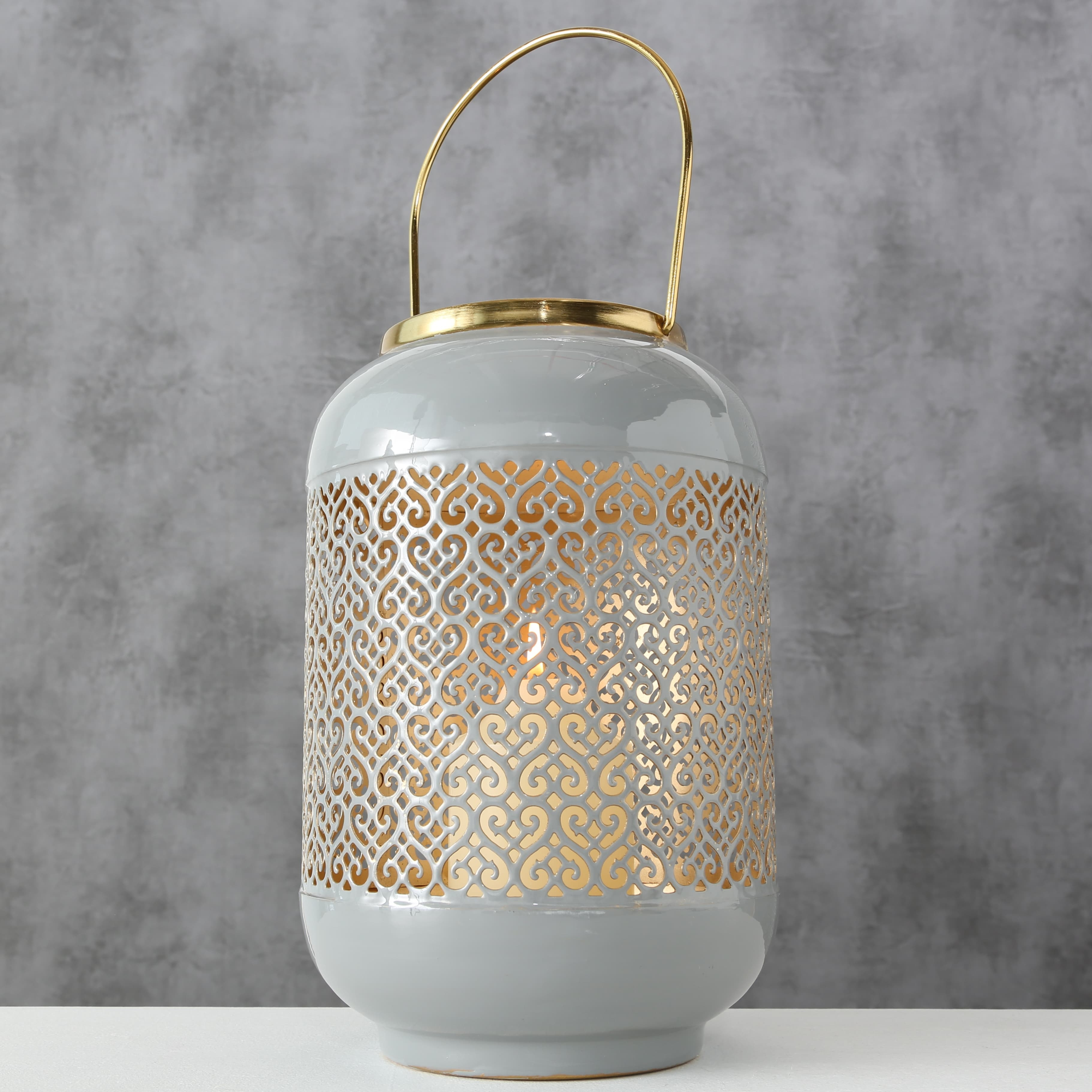 Felinar decorativ din metal Astair Gri / Auriu, Ø18xH27 cm