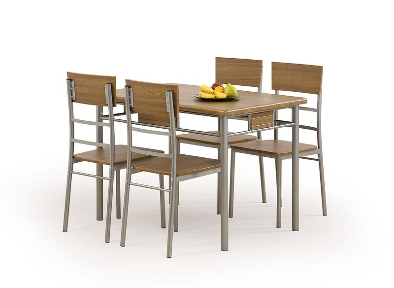 Set masa din MDF si metal + 4 scaune Natan Walnut, L110xl70xH75 cm imagine