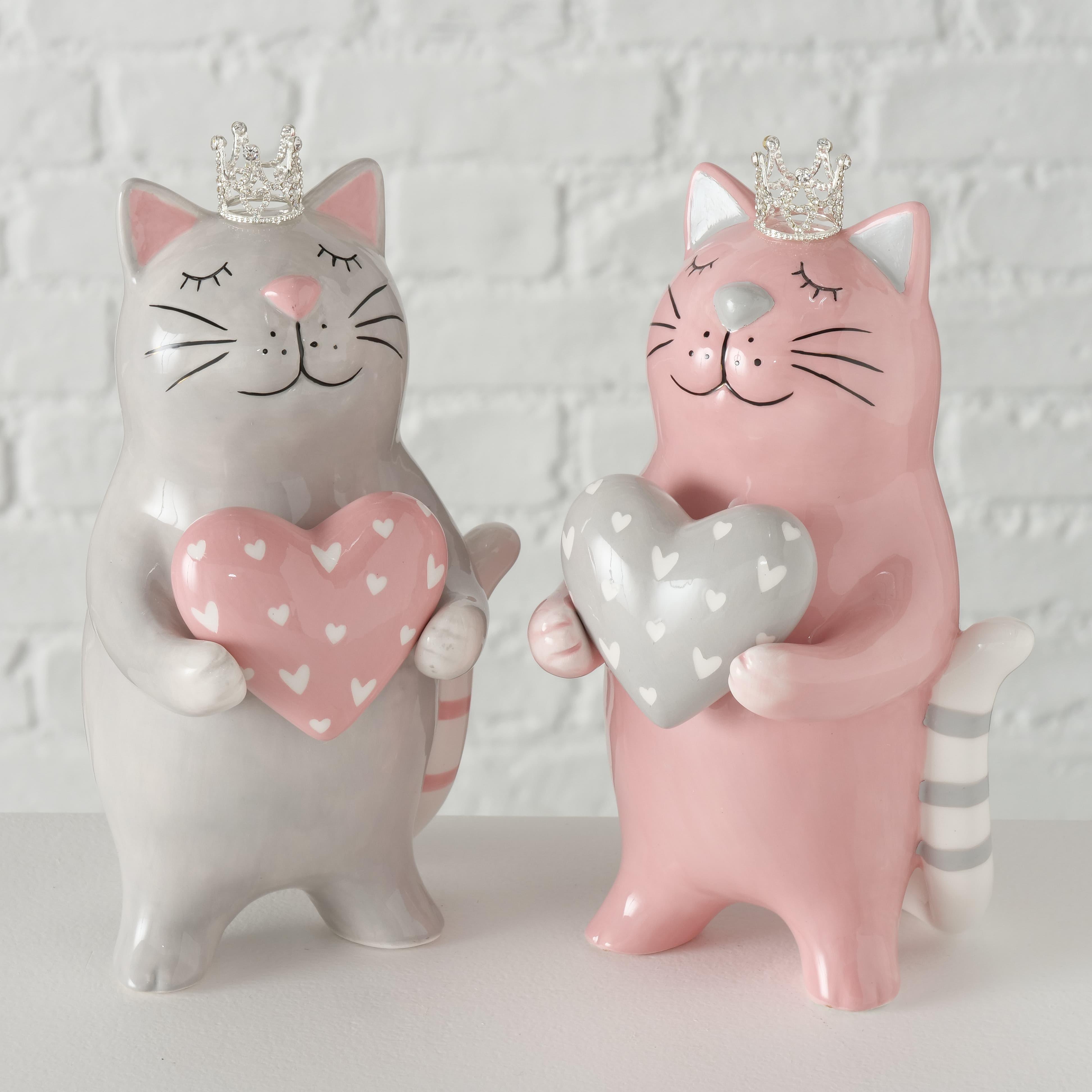 Figurina decorativa din ceramica Betsy Gri / Roz, Modele Asortate, l12xA11xH21 cm
