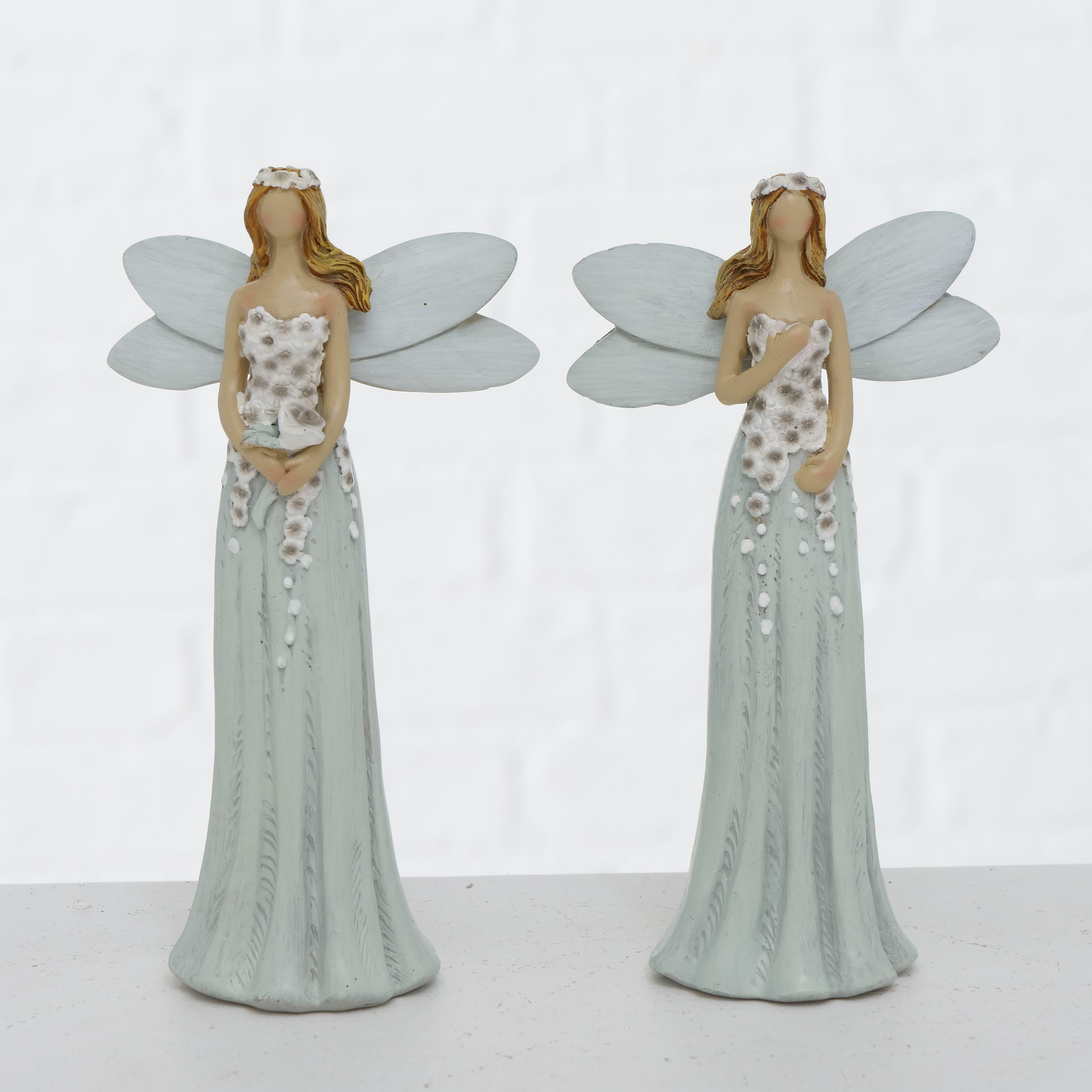 Figurina decorativa din polirasina Elysa Gri / Alb, Modele Asortate, l9xA5xH16,5 cm poza
