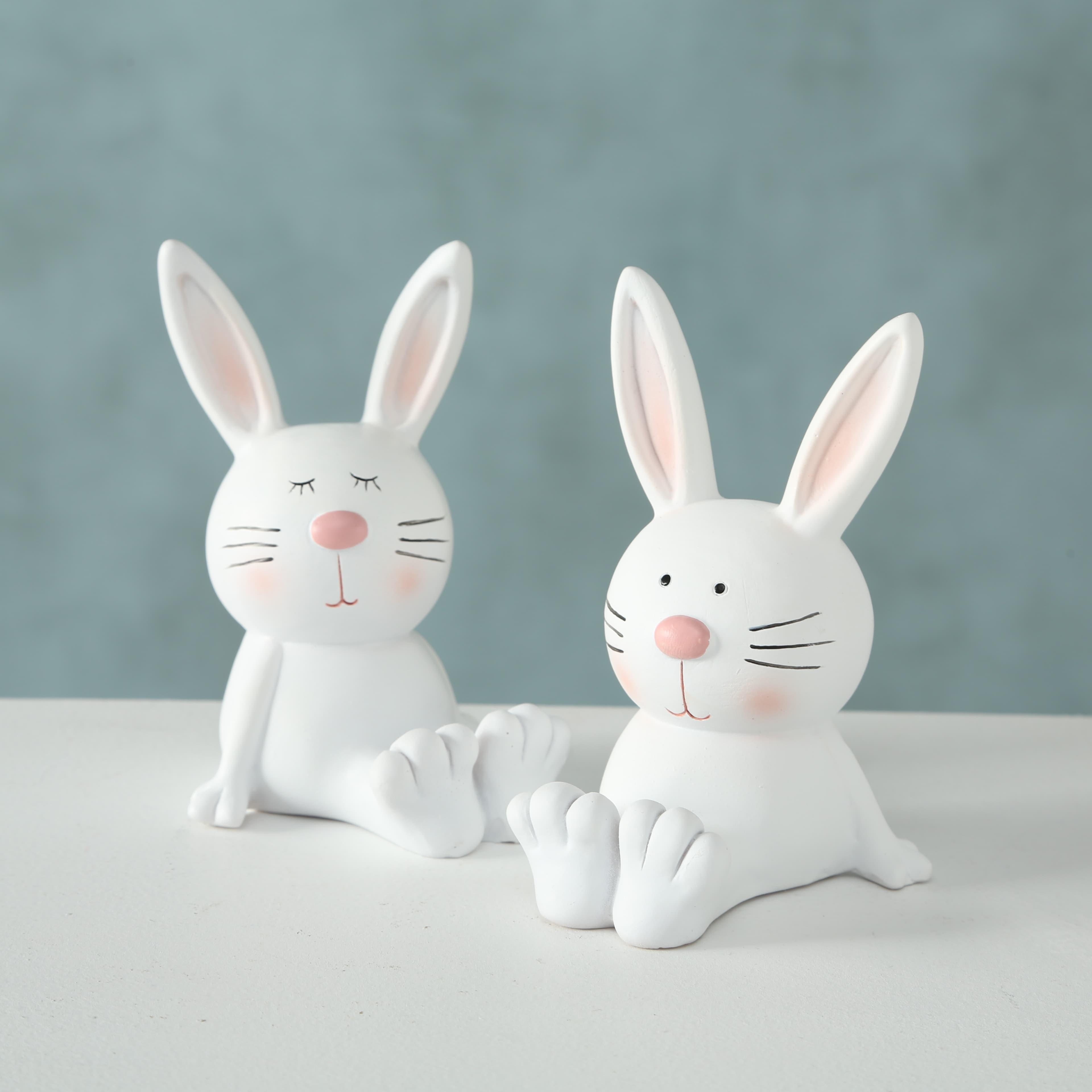 Figurina decorativa din polirasina Garvey Rabbit Alb, Modele Asortate, l7,5xA6,5xH12 cm poza