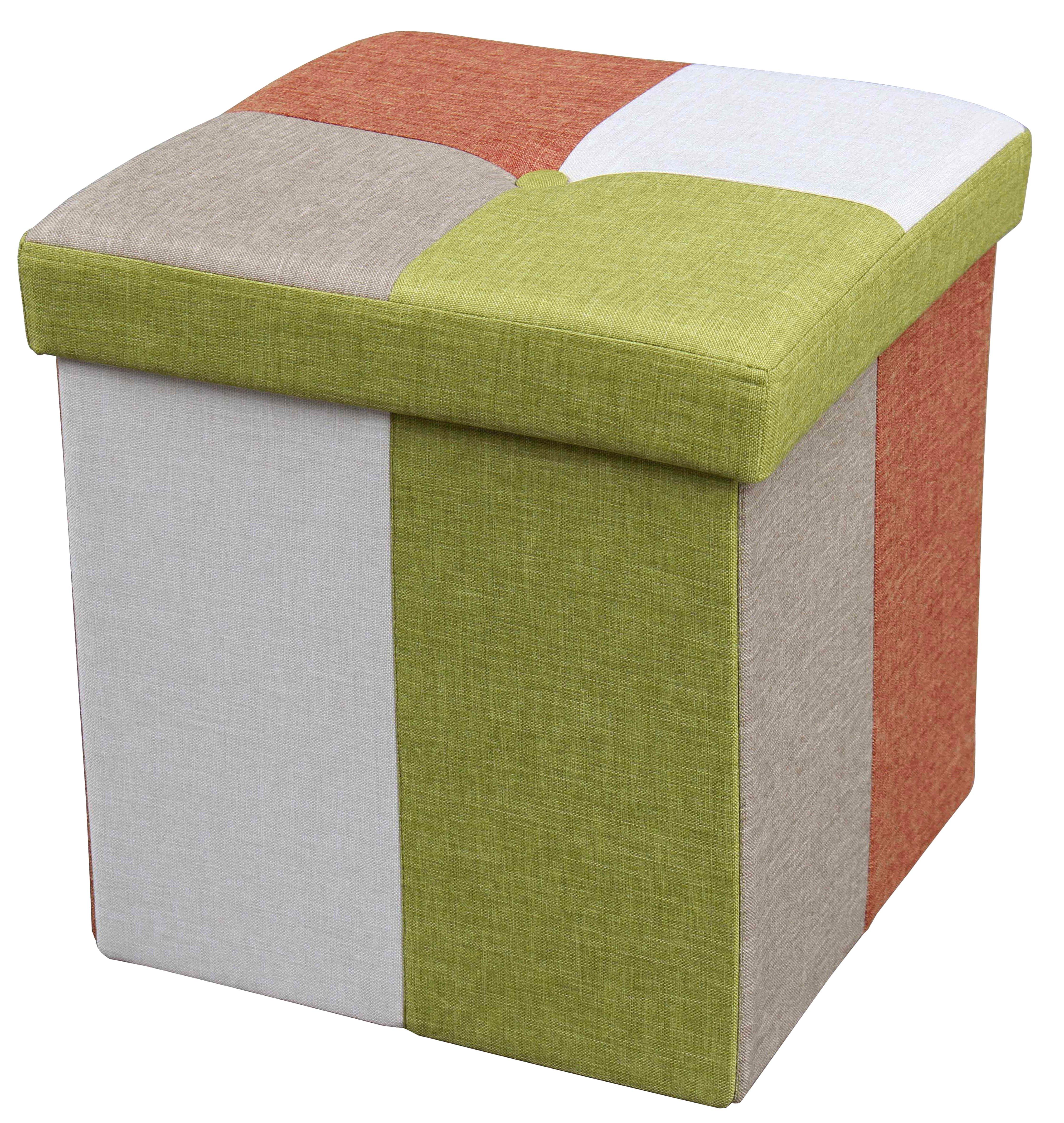 Taburet tapitat cu stofa cu spatiu de depozitare Fily II Multicolor l38xA38xH38 cm