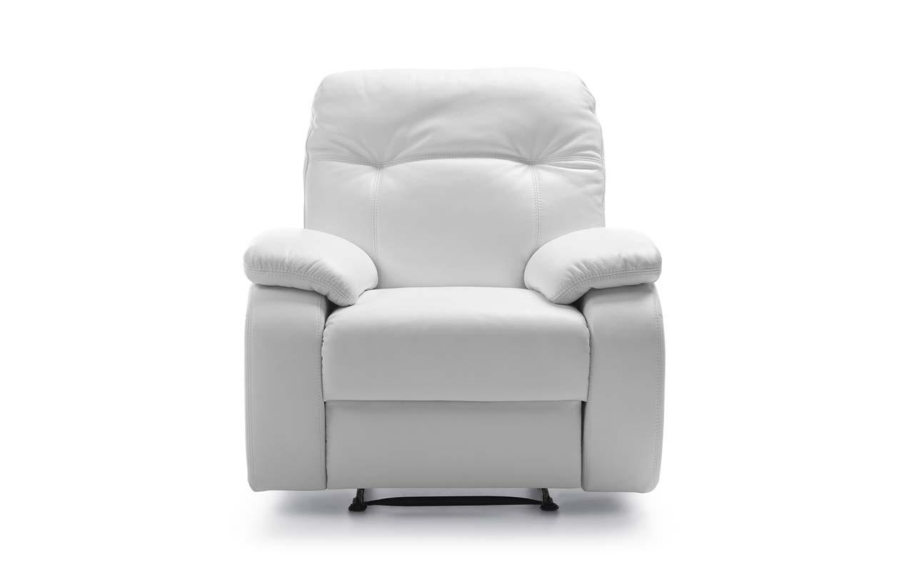 Fotoliu recliner tapitat cu piele ecologica Fino White l98xA100xH99 cm