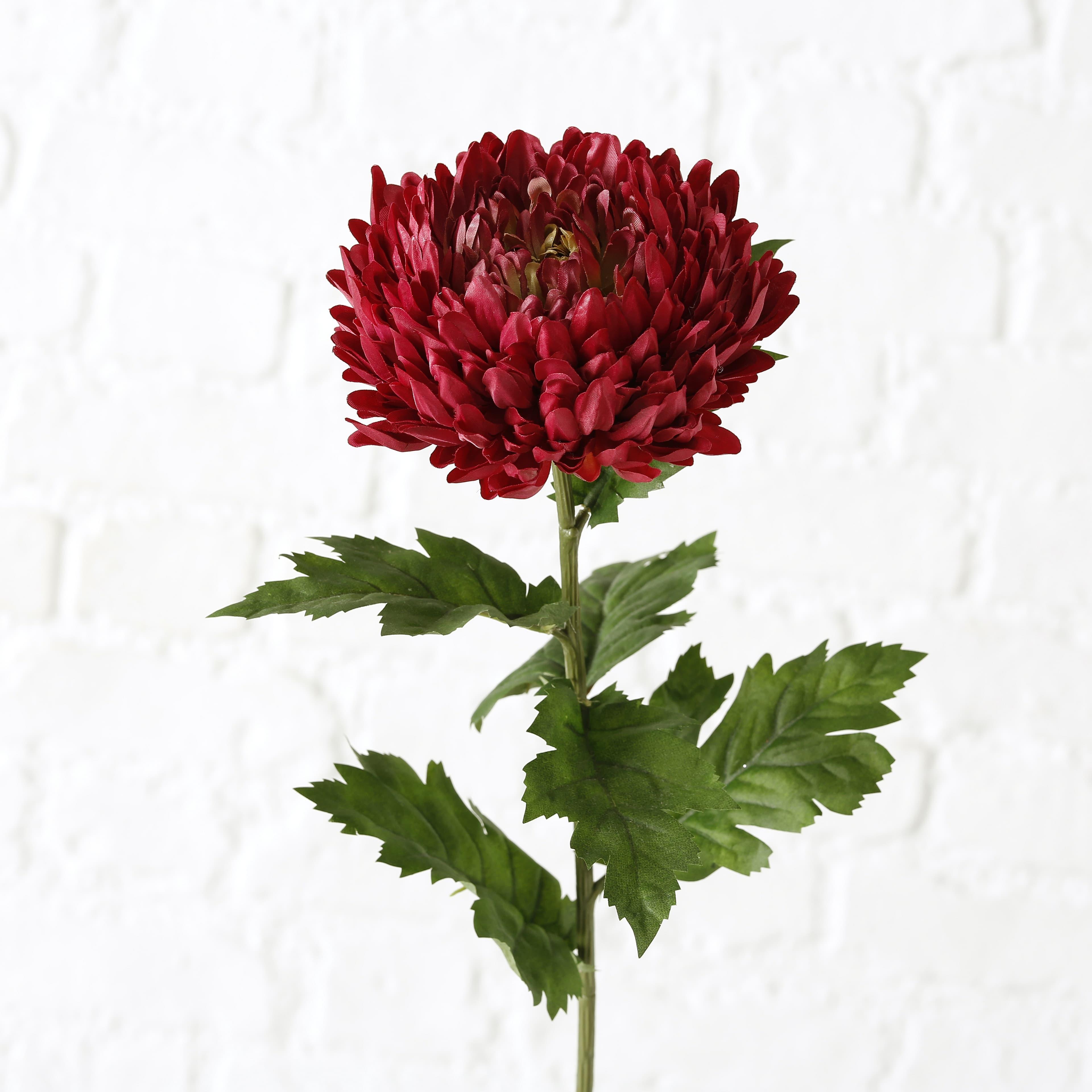 Fir floare artificiala Chrysanthemums Rosu inchis / Verde, H75 cm imagine