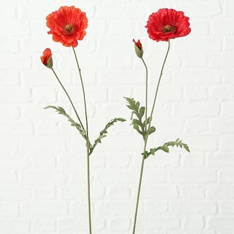 Fir floare artificiala Corn Poppy Rosu / Verde, Modele Asortate, H64 cm imagine
