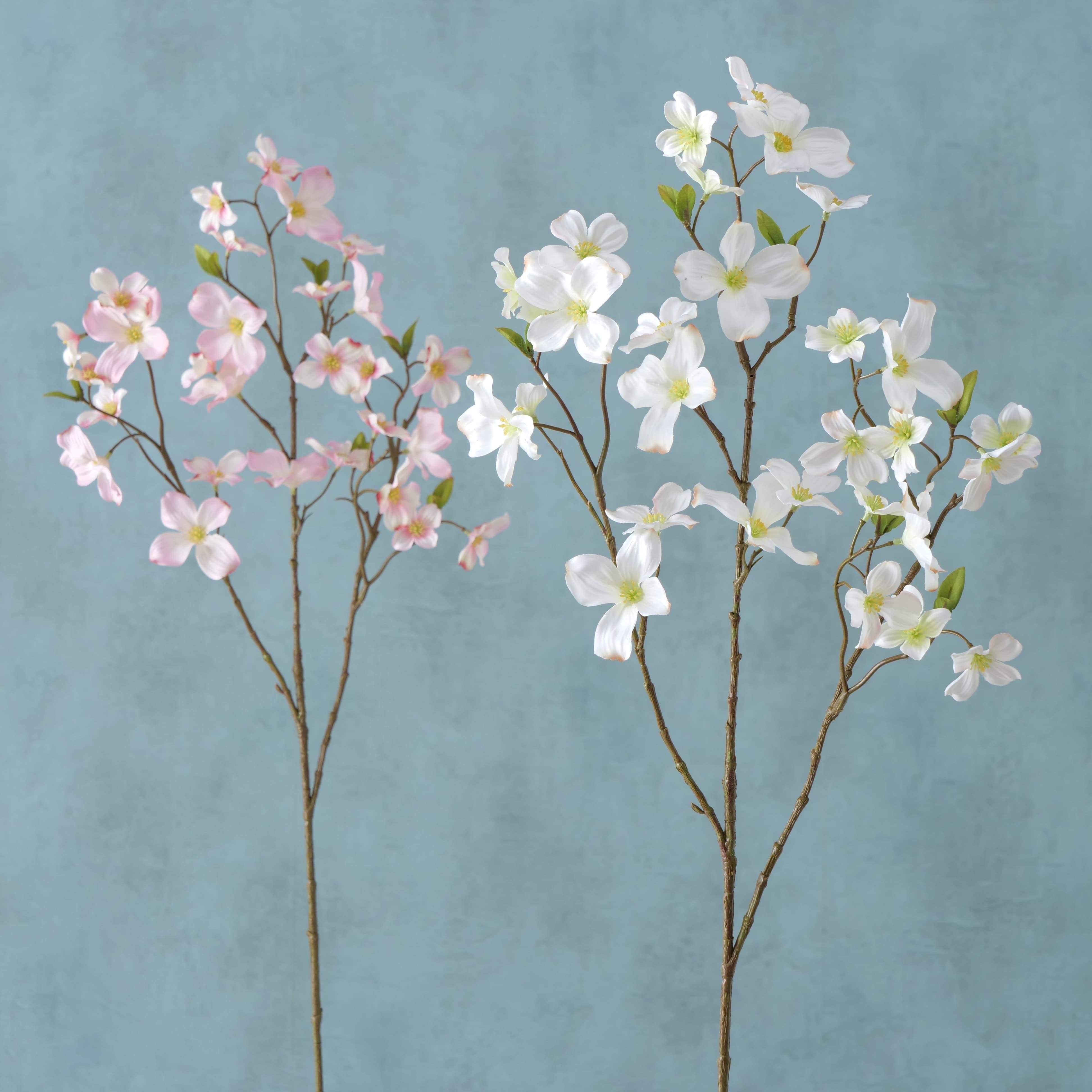 Fir floare artificiala Dogwood Roz deschis / Alb, Modele Asortate, H84 cm imagine