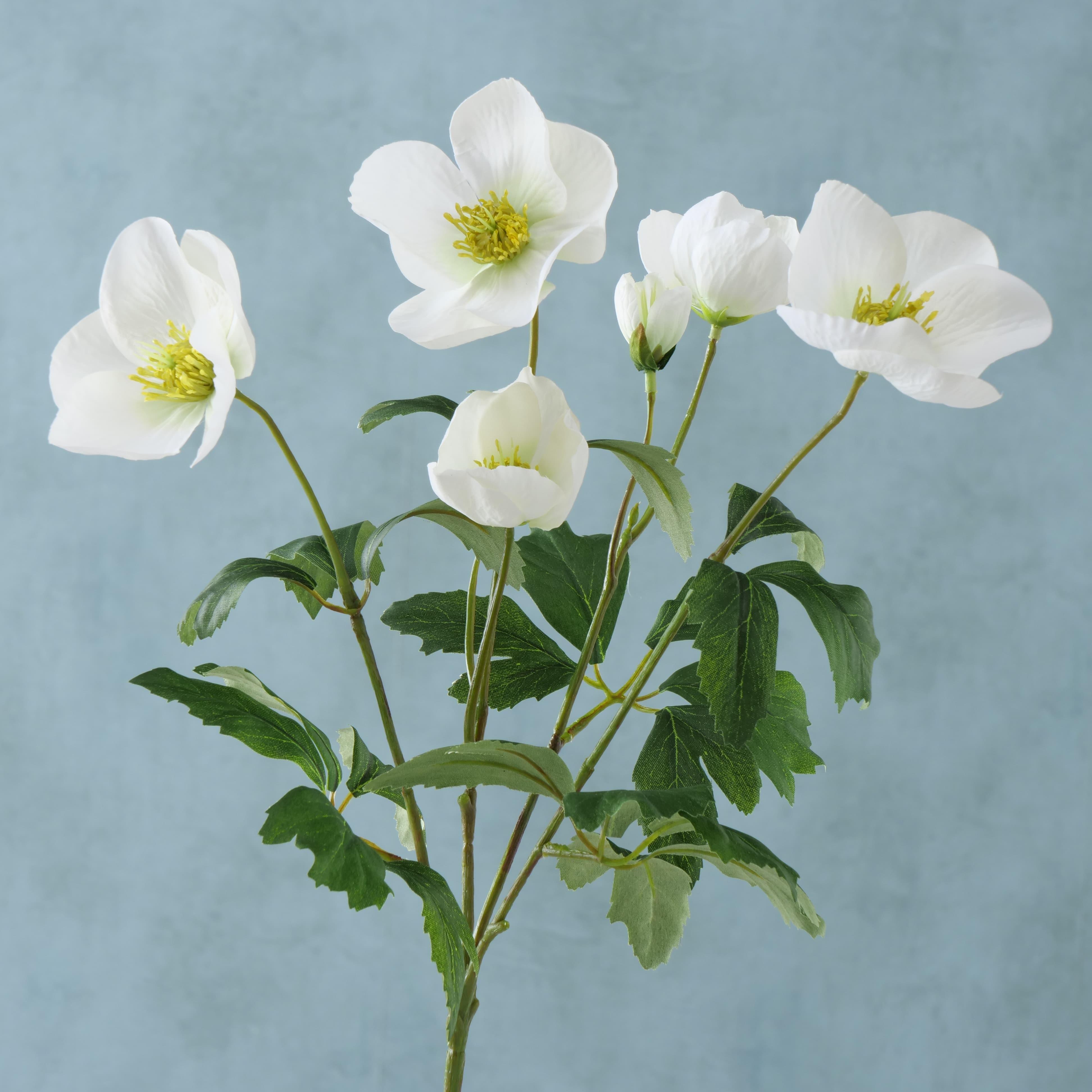Fir floare artificiala Helleborus Alb / Verde, H38 cm imagine