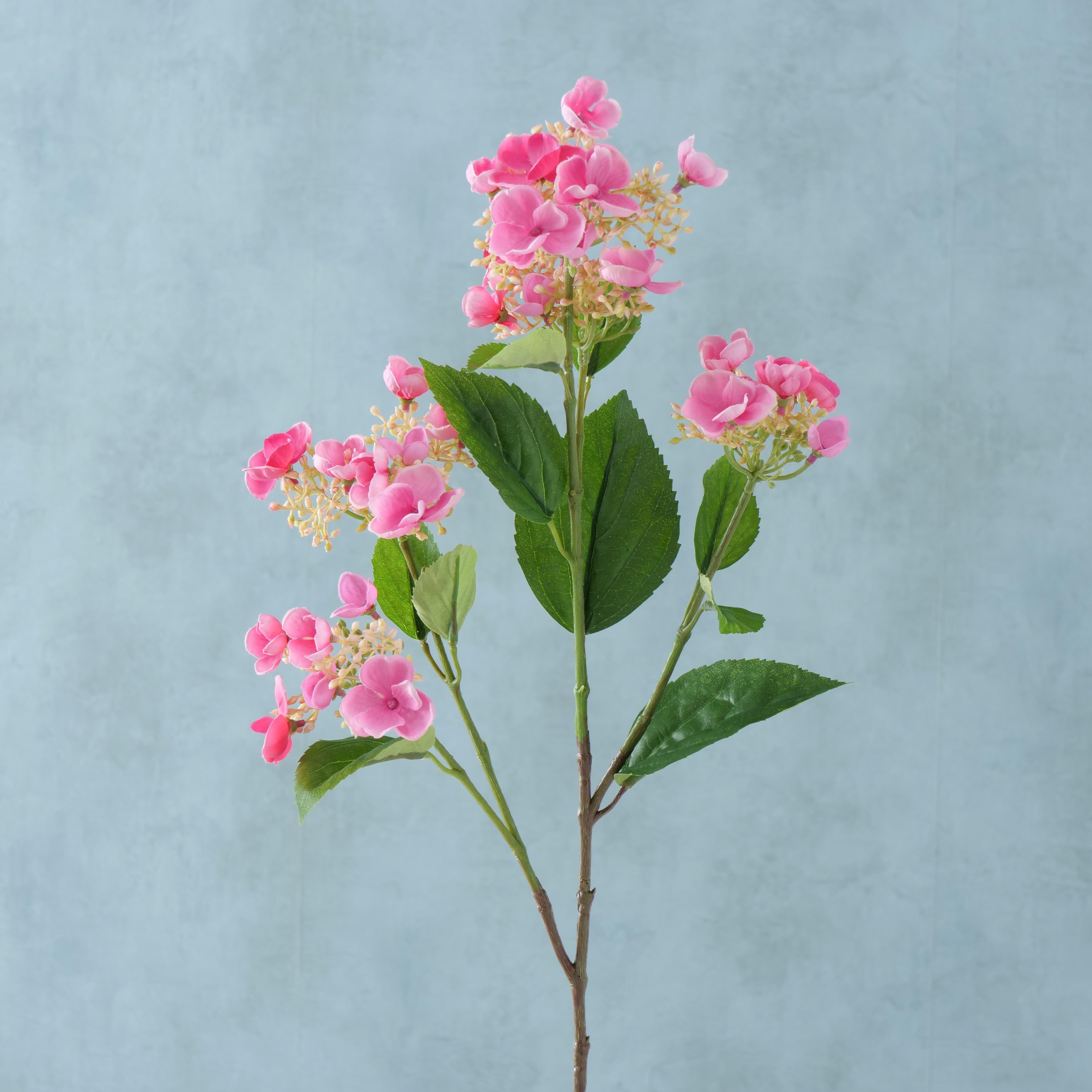 Fir floare artificiala Hydrangea Roz / Verde, H75 cm poza
