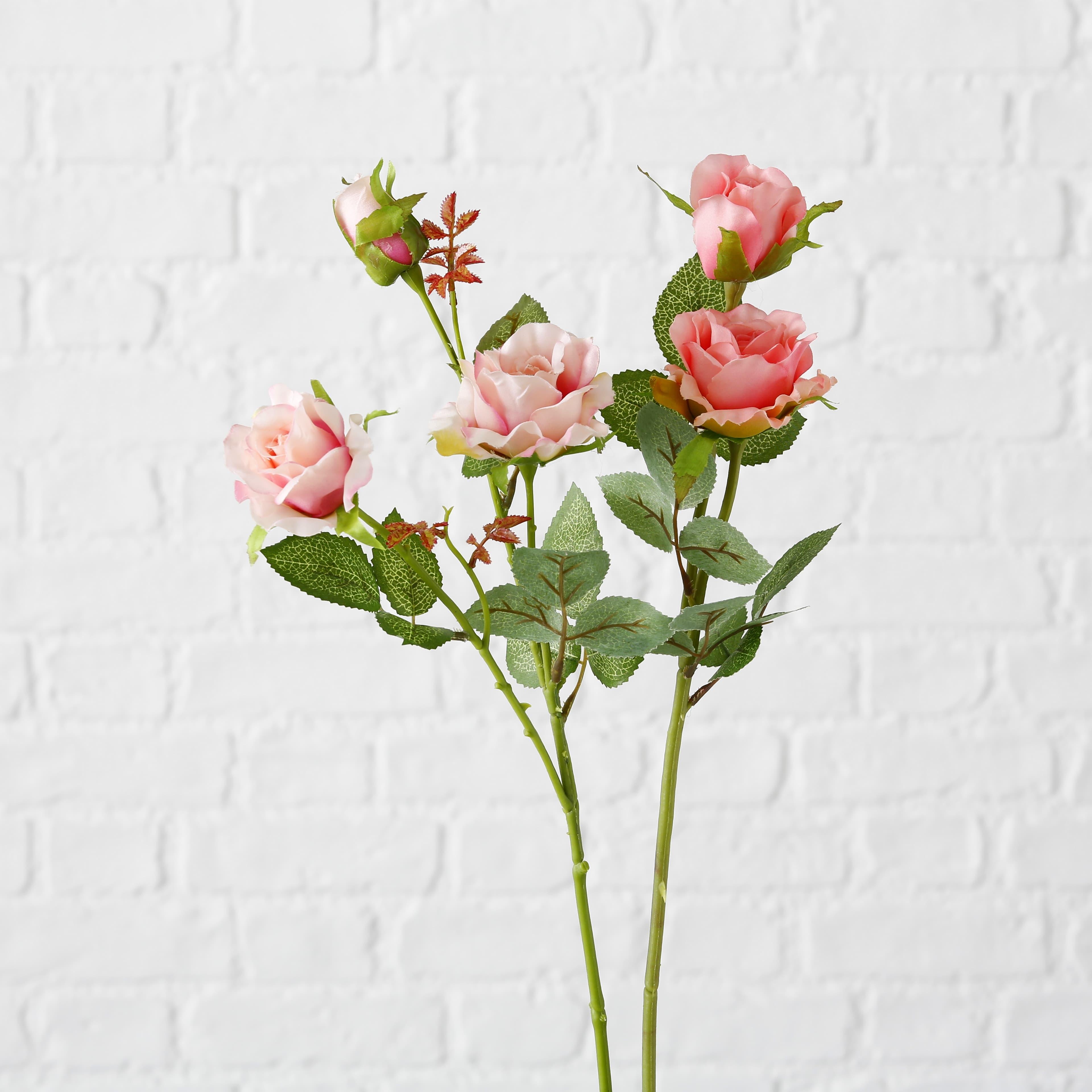 Fir floare artificiala Mini Rose Roz / Verde, Modele Asortate, H60 cm imagine