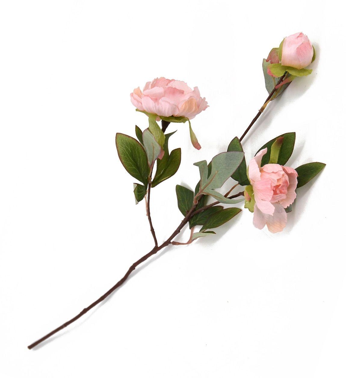Fir floare artificiala Peony Roz, 55 cm