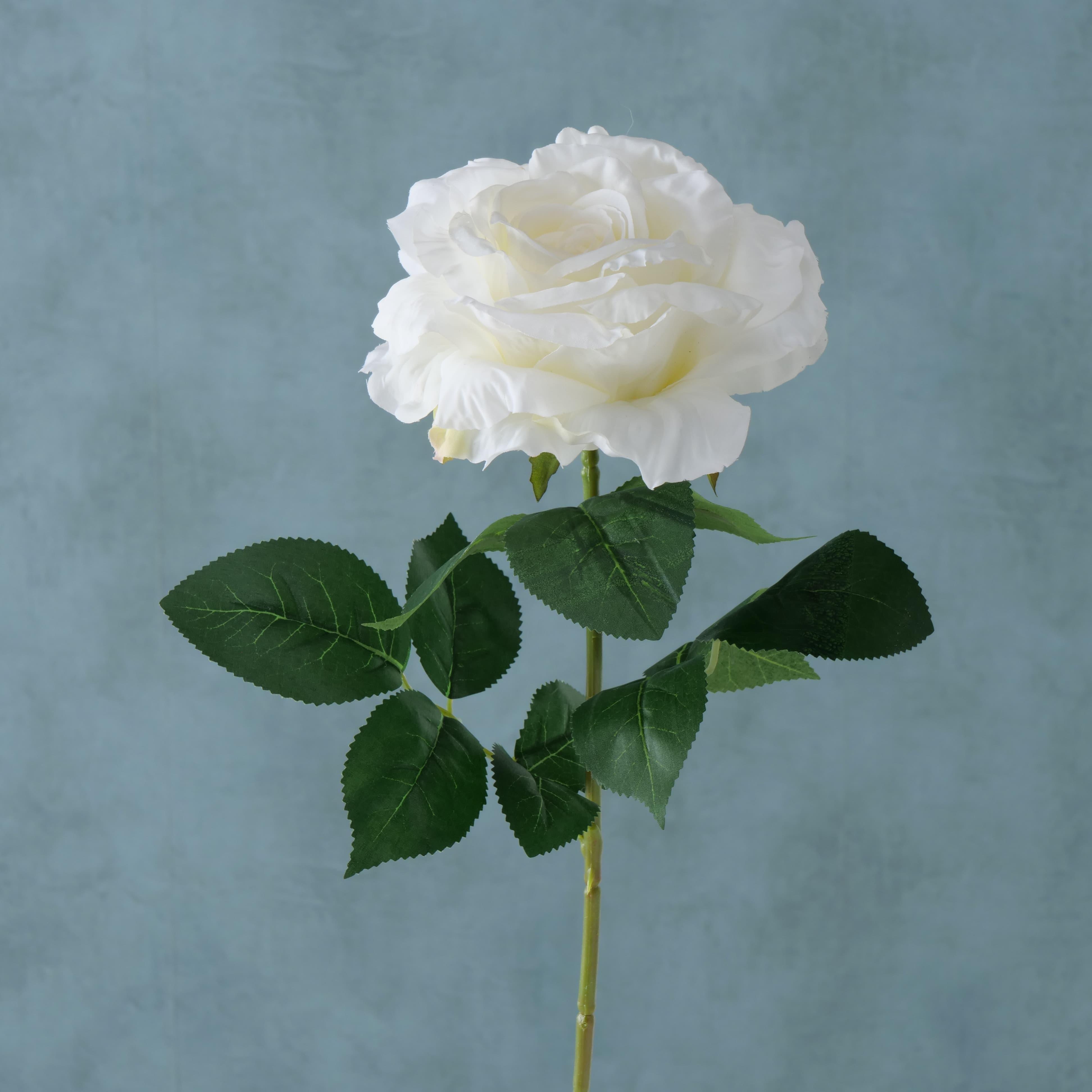 Fir floare artificiala Rose Alb / Verde, H78 cm imagine