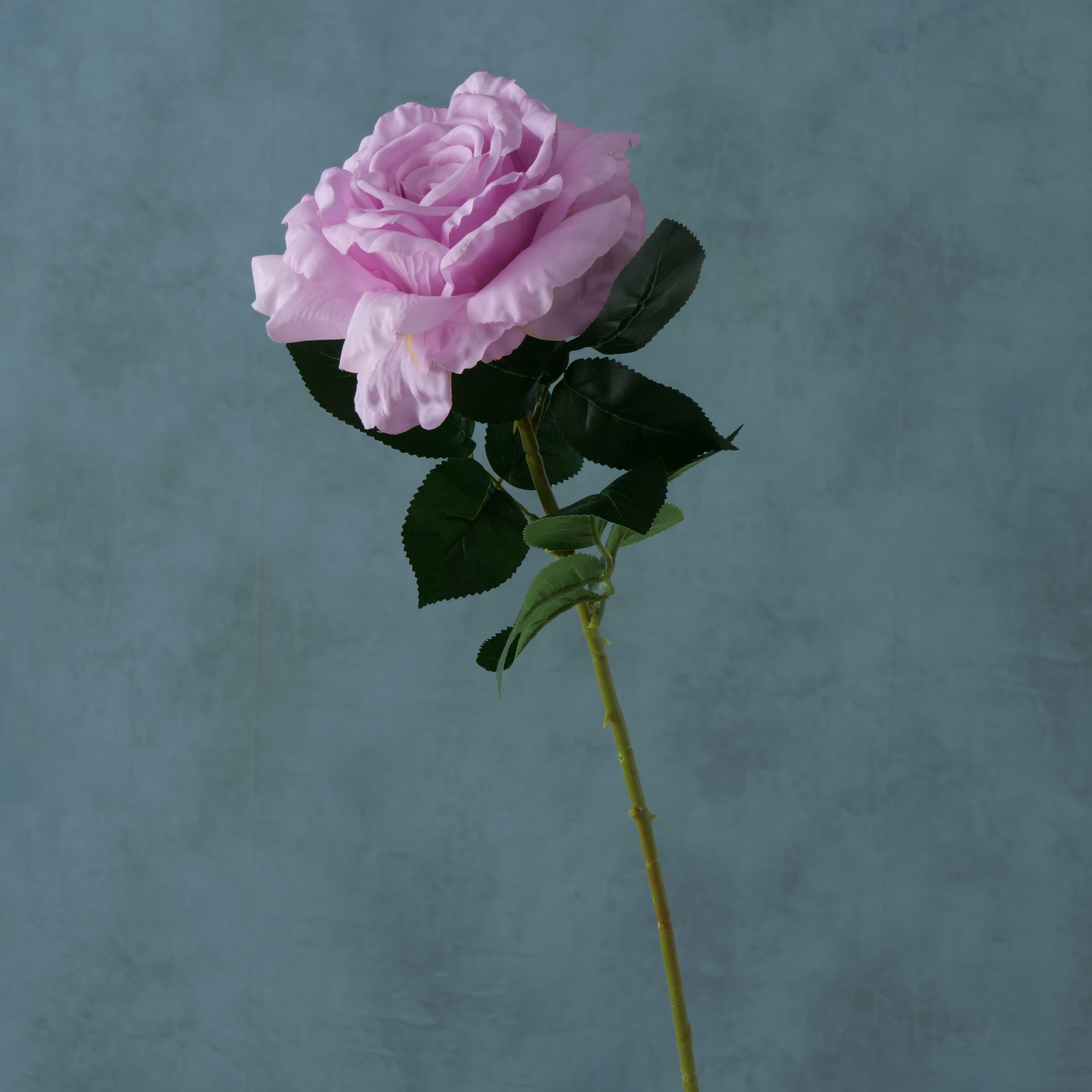 Fir floare artificiala Rose Lila / Verde, H78 cm imagine