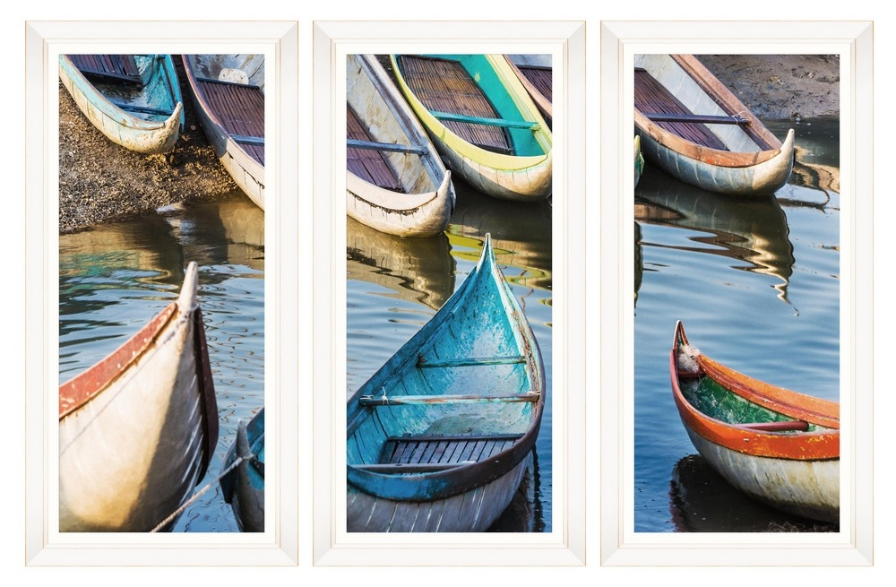 Tablou 3 piese Framed Art Fishing Boats
