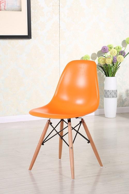 Scaun din plastic cu picioare din lemn Lois Orange, l46xA37xH81 cm