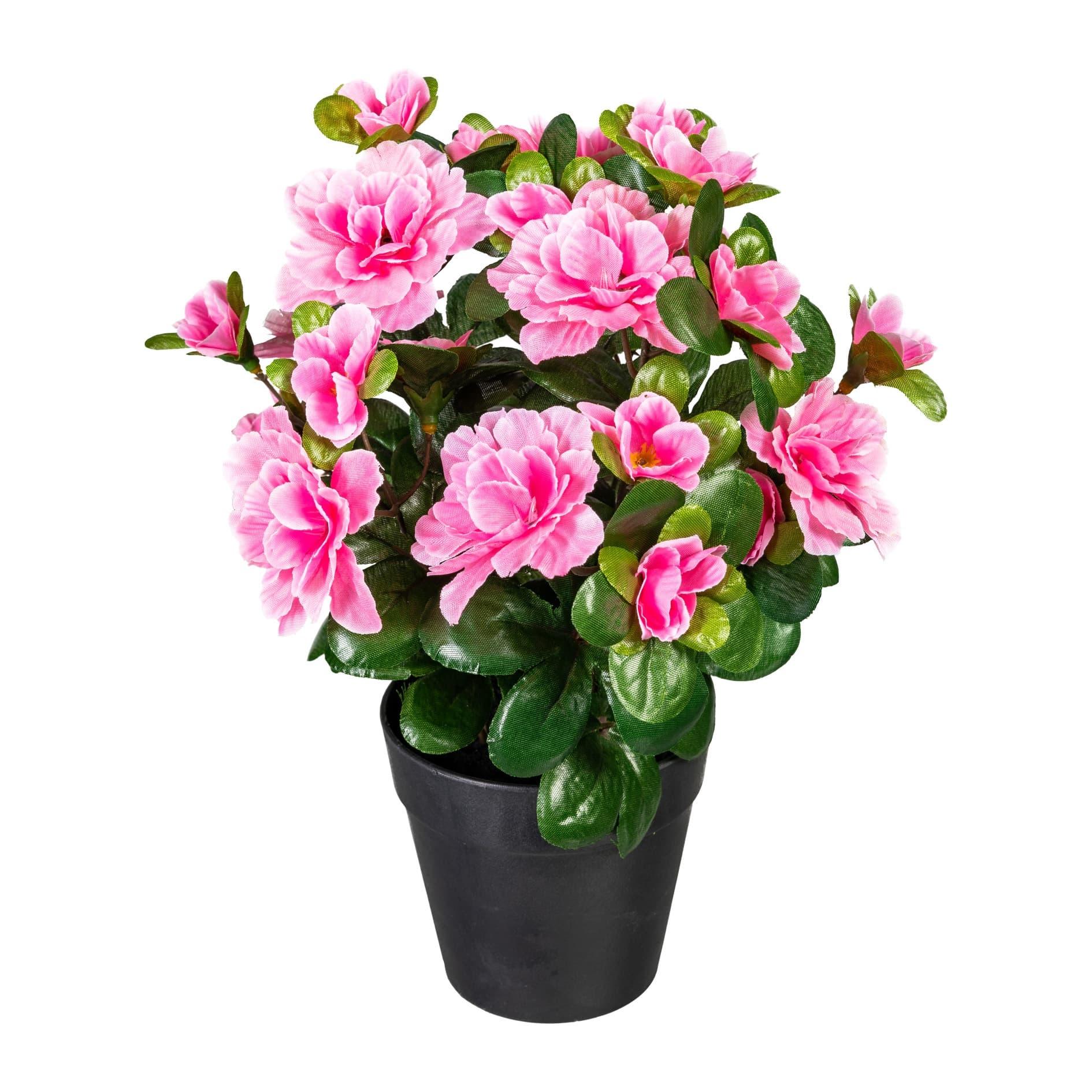 Floare artificiala in ghiveci, Azalea Roz, H26 cm somproduct.ro