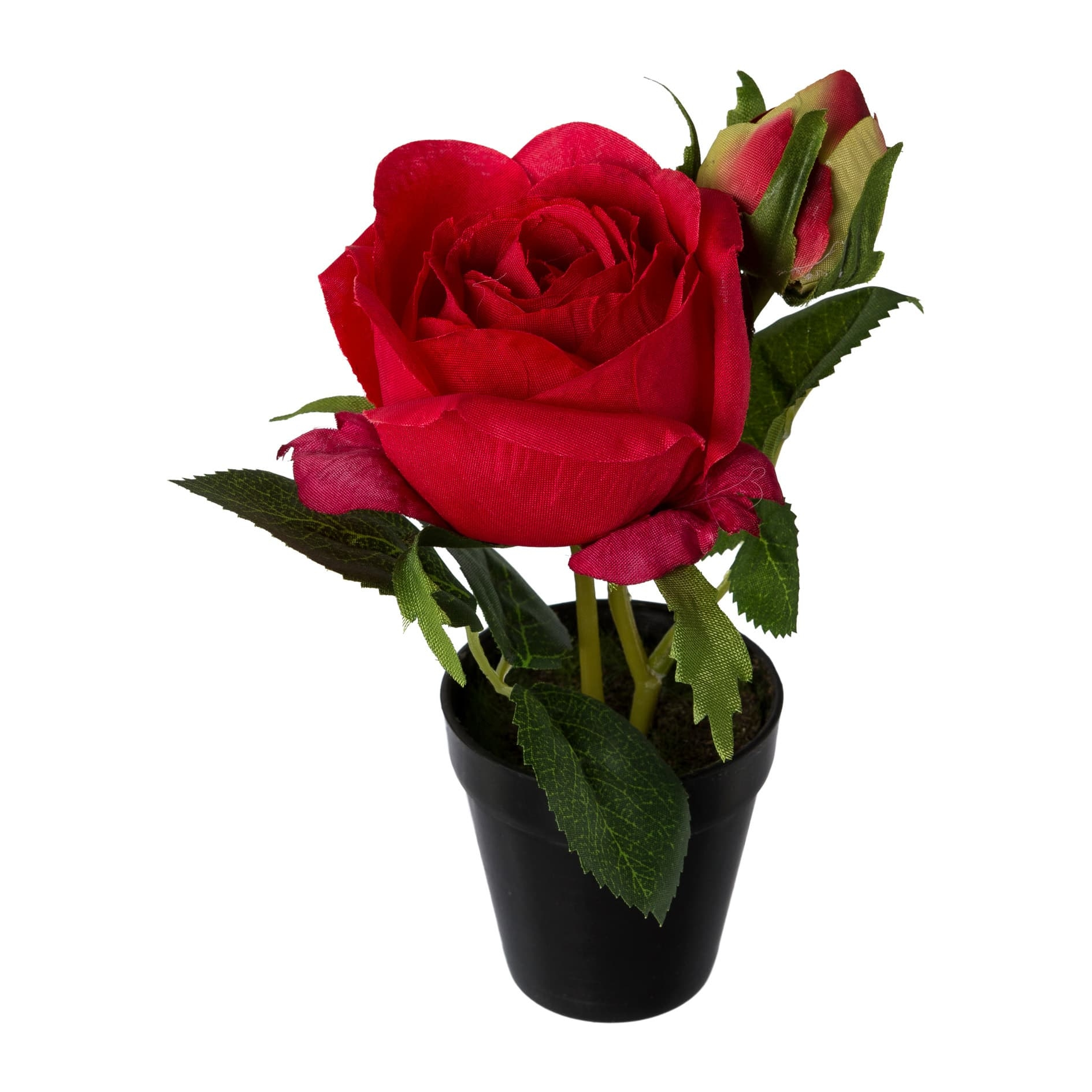 Floare artificiala in ghiveci, Rose Rosu, H17 cm somproduct.ro