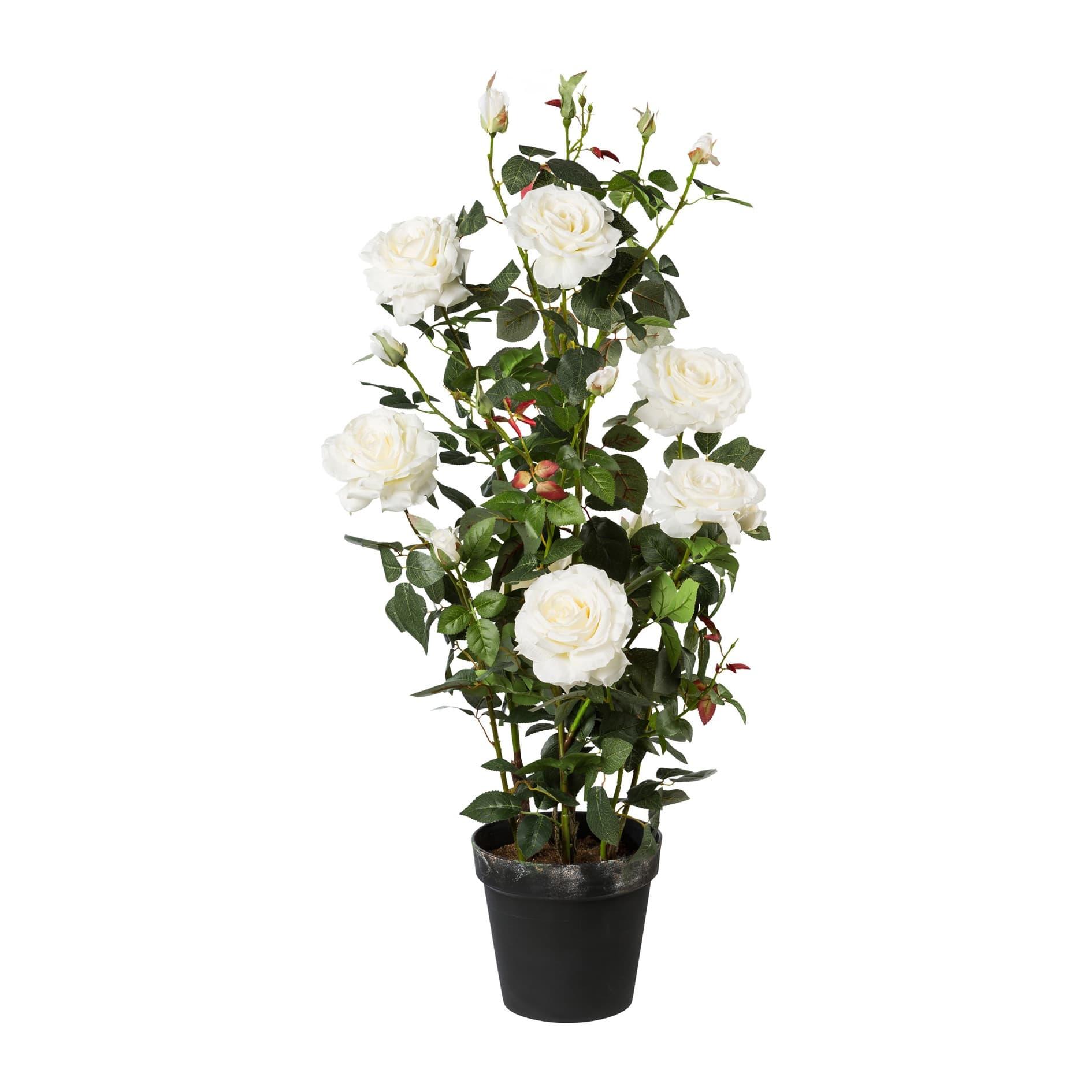 Poza Floare artificiala in ghiveci, Rose Tree Alb, H112 cm