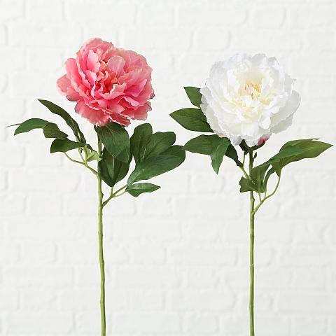 Floare artificiala Pfingstrose Alb / Roz, H66 cm, 2 bucati imagine