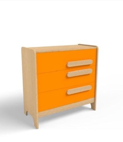 Comoda pentru copii din MDF cu 3 sertare Oak / Orange l95xA50xH90 cm