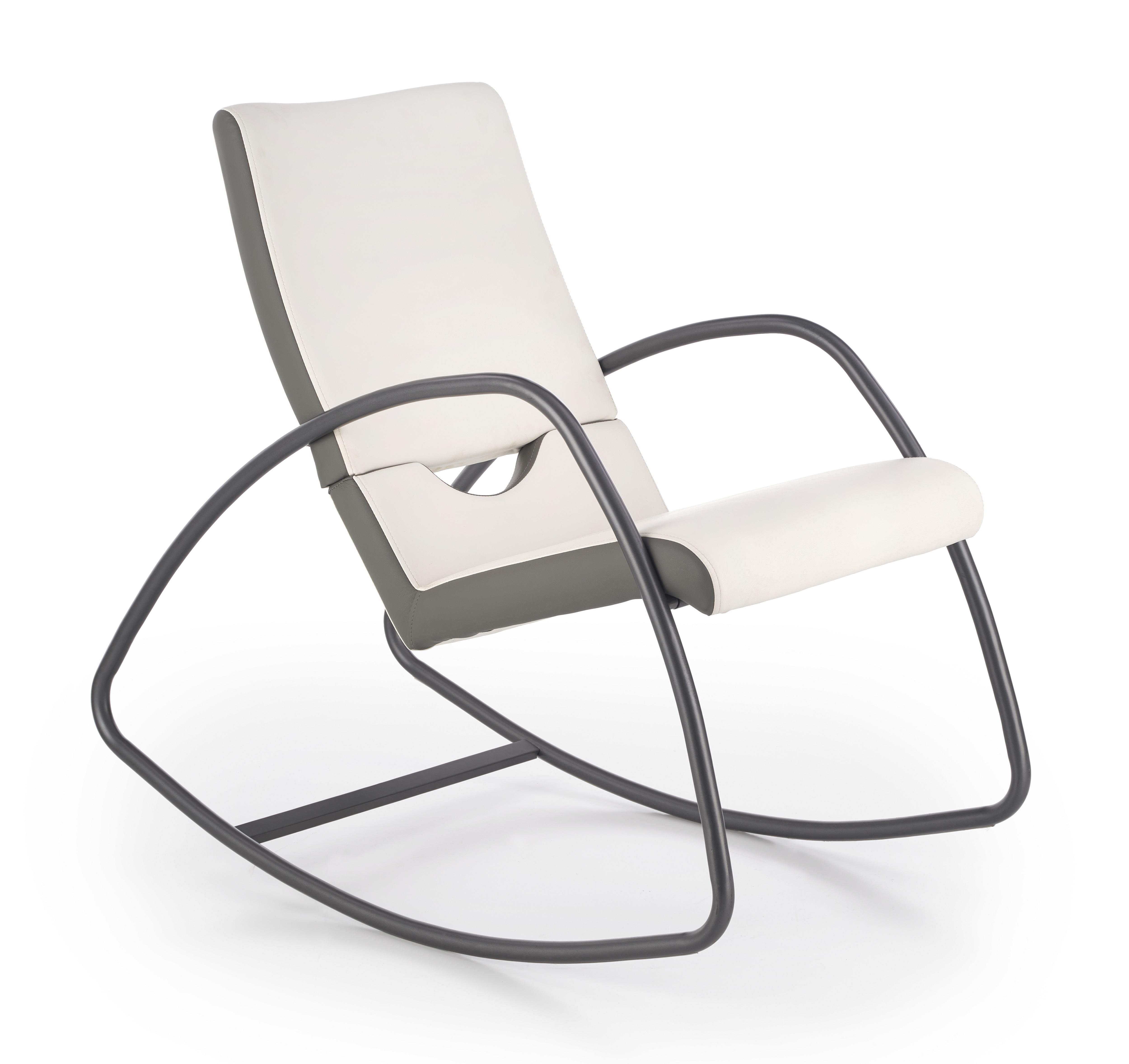 Fotoliu balansoar tapitat cu piele ecologica Balance Grey / White l55xA105xH95 cm