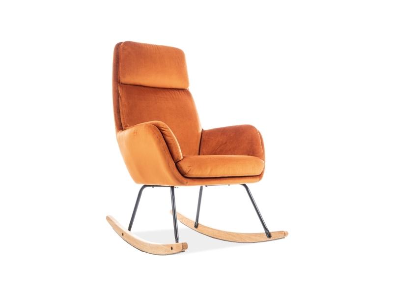 Fotoliu balansoar tapitat cu stofa si picioare din lemn si metal Hoover Velvet Portocaliu, l70xA70xH106 cm imagine
