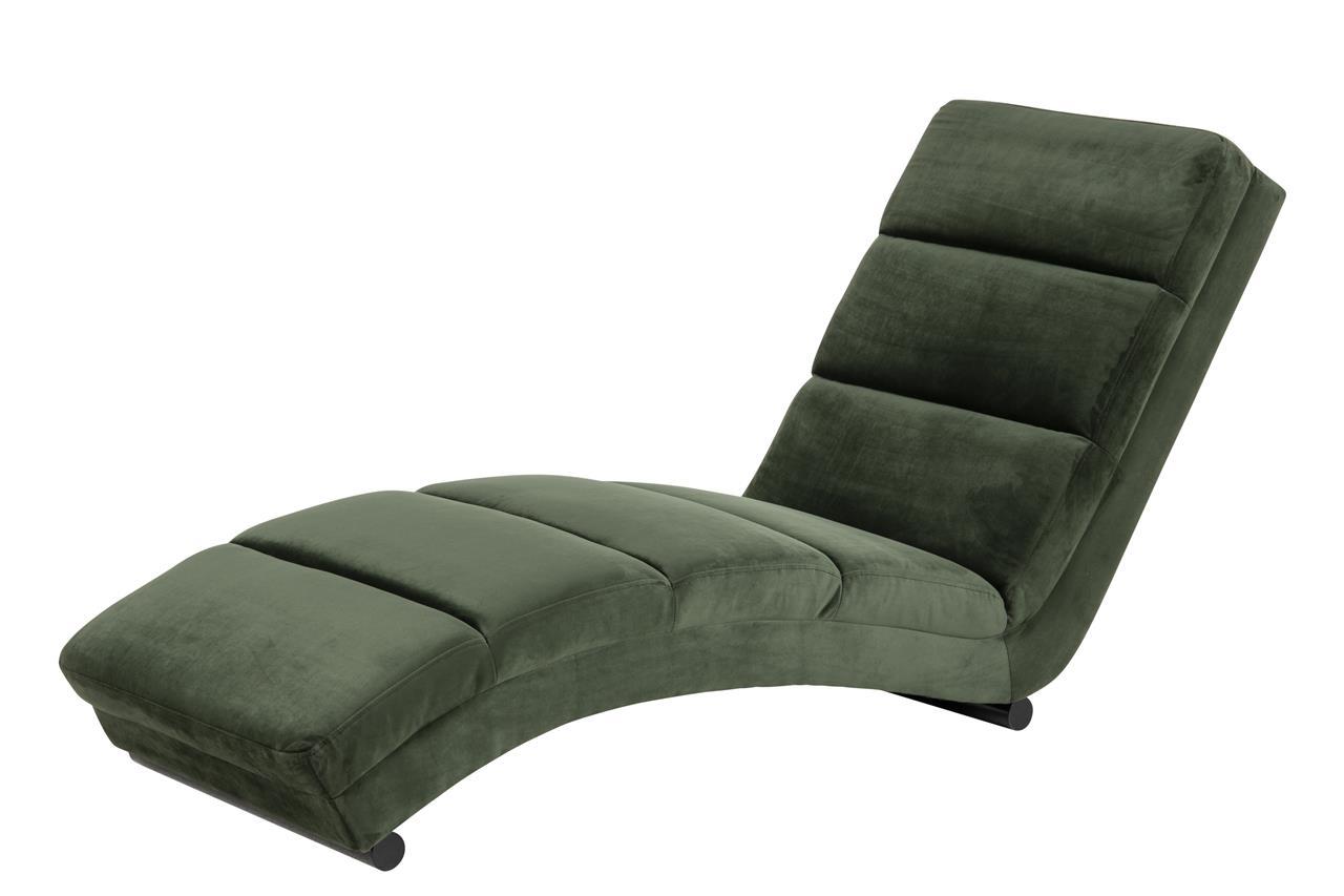 Fotoliu de relaxare fix tapitat cu stofa si picioare metalice Slinky Velvet Verde / Negru, l60XA170xH82 cm imagine