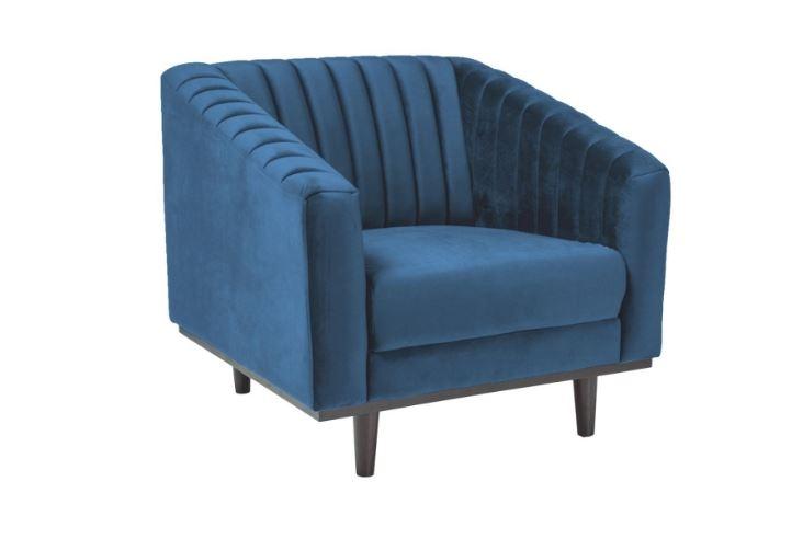 Fotoliu fix tapitat cu stofa, Asprey 1 Velvet Blue, l83xA60xH78 cm imagine