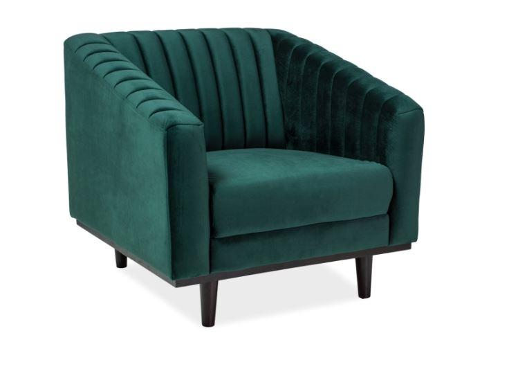 Fotoliu fix tapitat cu stofa, Asprey 1 Velvet Green, l83xA60xH78 cm imagine