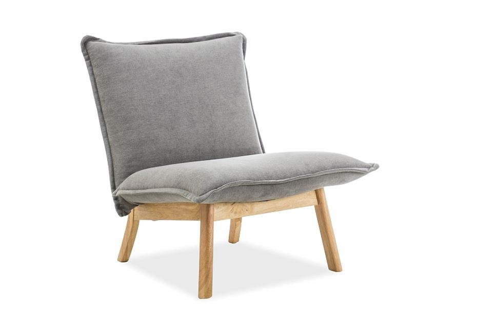 Fotoliu fix tapitat cu stofa cu picioare de lemn Bollo 1 Grey l68xA51xH77 cm