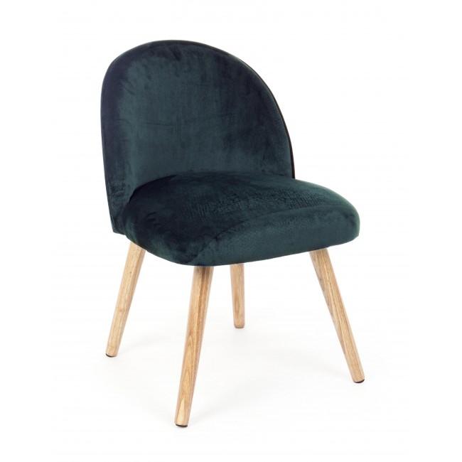 Fotoliu fix tapitat cu stofa, cu picioare din lemn Adeline Small Verde inchis, l47xA57xH76 cm din categoria Fotolii Fixe