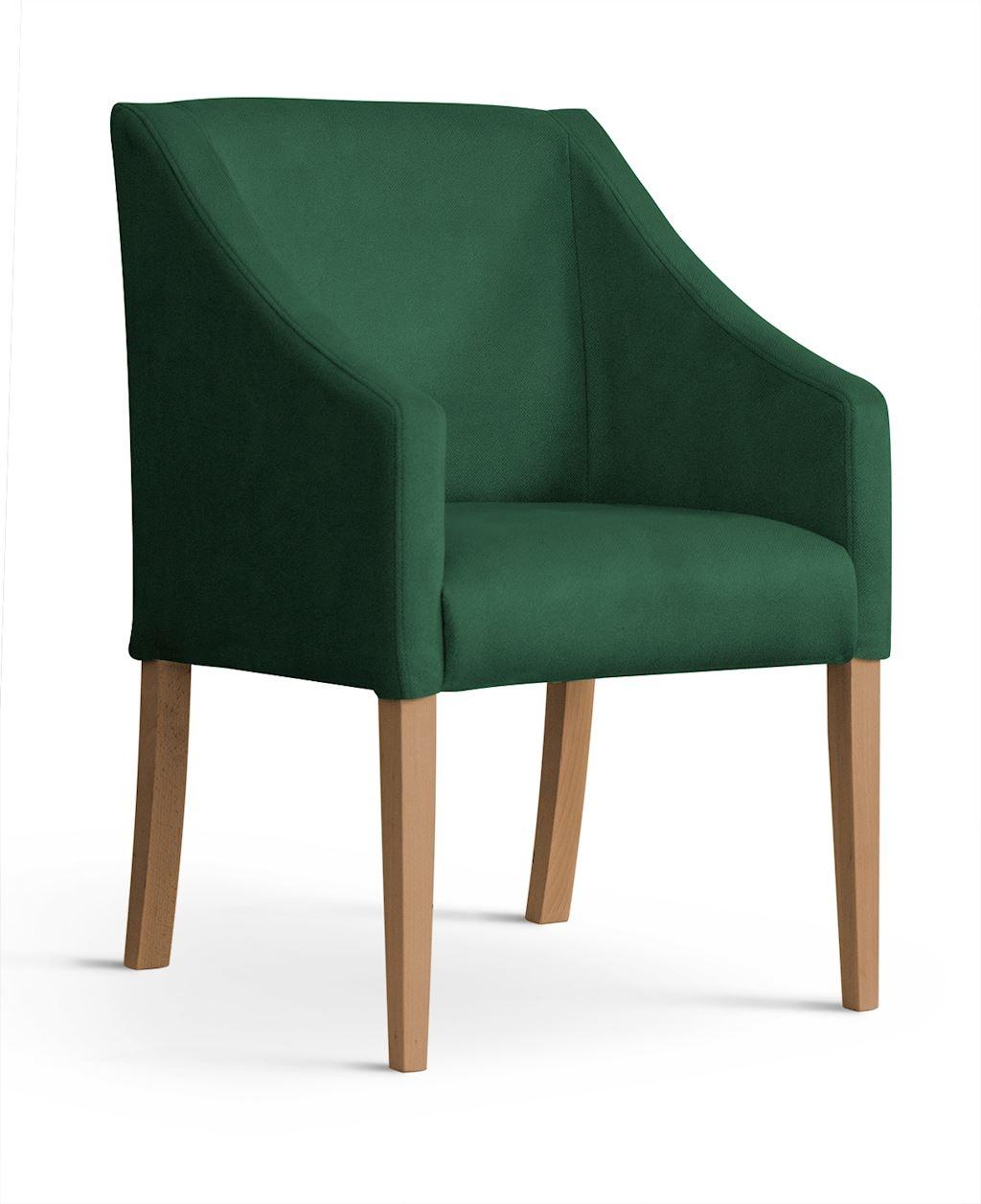 Fotoliu fix tapitat cu stofa, cu picioare din lemn Capri Green / Oak, l58xA60xH89 cm