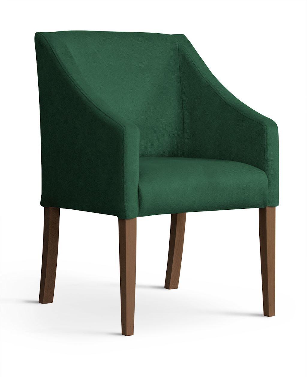 Fotoliu fix tapitat cu stofa, cu picioare din lemn Capri Green / Walnut, l58xA60xH89 cm imagine
