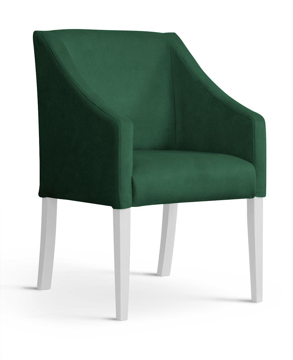 Fotoliu fix tapitat cu stofa, cu picioare din lemn Capri Green / White, l58xA60xH89 cm