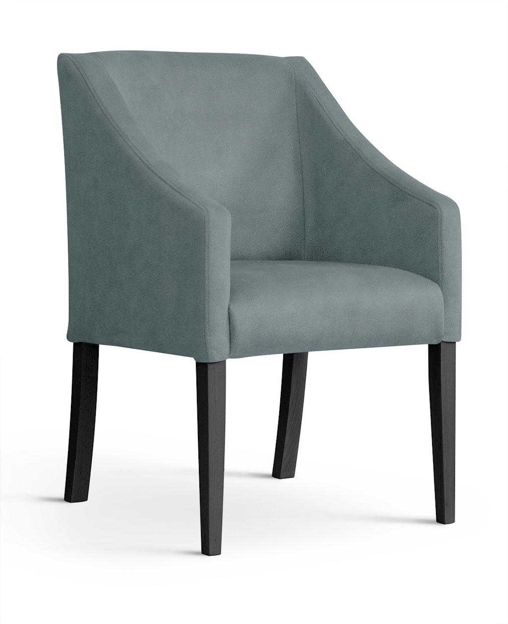 Fotoliu fix tapitat cu stofa, cu picioare din lemn Capri Grey / Black, l58xA60xH89 cm imagine
