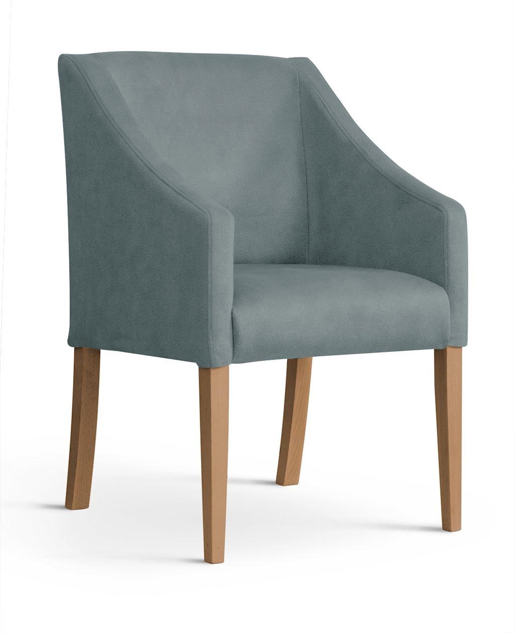 Fotoliu fix tapitat cu stofa, cu picioare din lemn Capri Grey / Oak, l58xA60xH89 cm