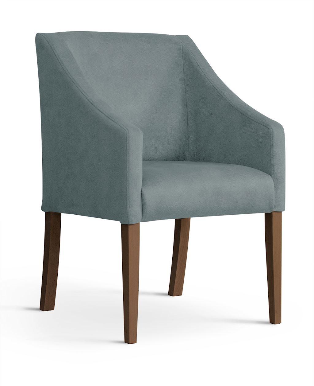 Fotoliu fix tapitat cu stofa, cu picioare din lemn Capri Grey / Walnut, l58xA60xH89 cm imagine