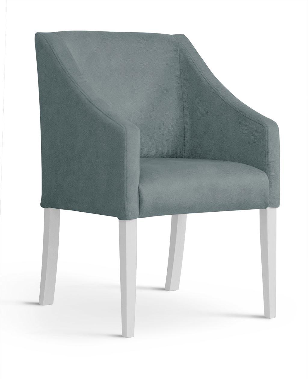 Fotoliu fix tapitat cu stofa, cu picioare din lemn Capri Grey / White, l58xA60xH89 cm imagine