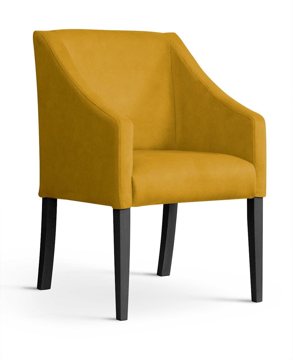 Fotoliu fix tapitat cu stofa si picioare din lemn Capri Velvet Mustariu / Negru, l58xA60xH89 cm somproduct.ro