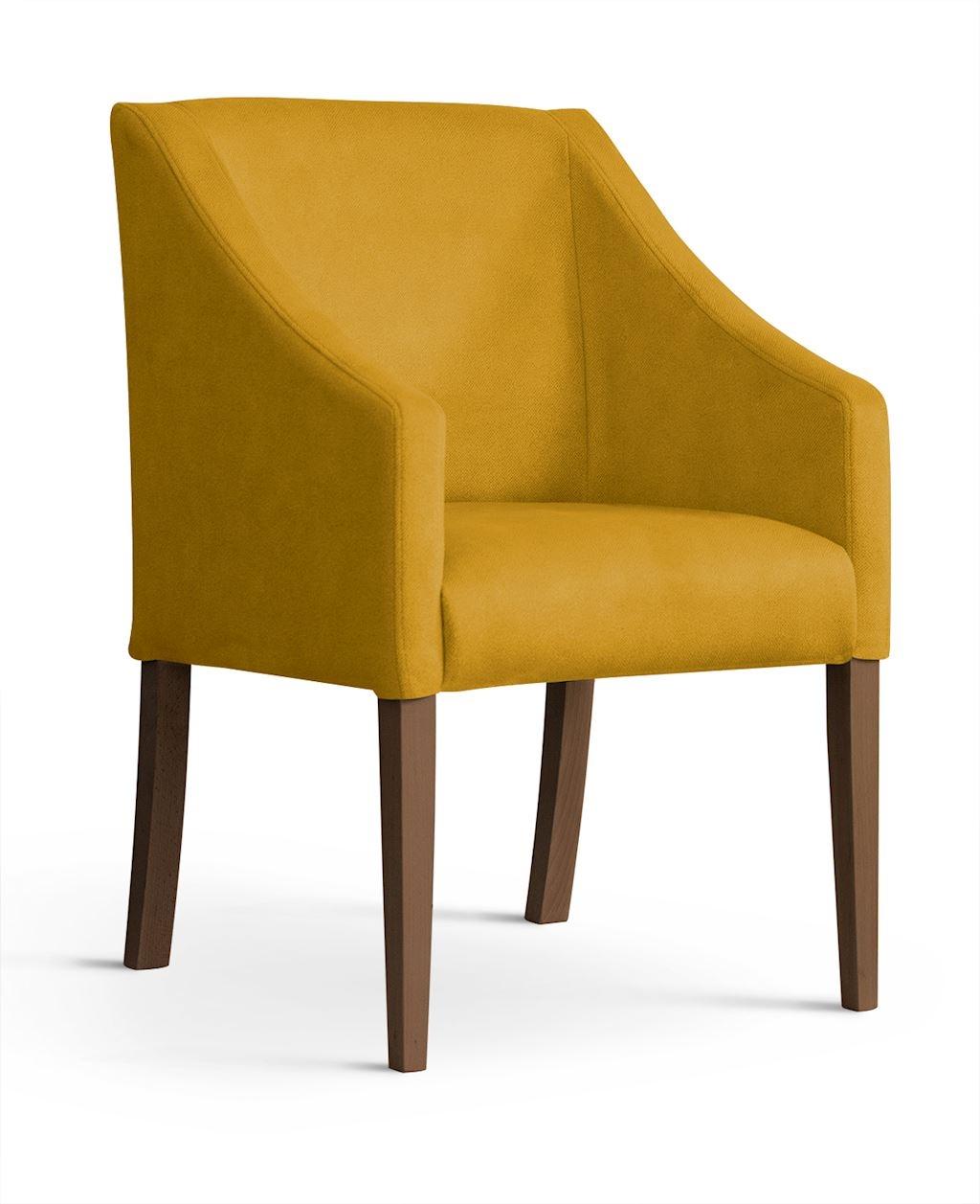 Fotoliu fix tapitat cu stofa, cu picioare din lemn Capri Honey / Walnut, l58xA60xH89 cm