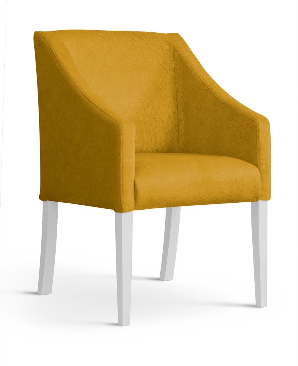 Fotoliu fix tapitat cu stofa, cu picioare din lemn Capri Honey / White, l58xA60xH89 cm imagine