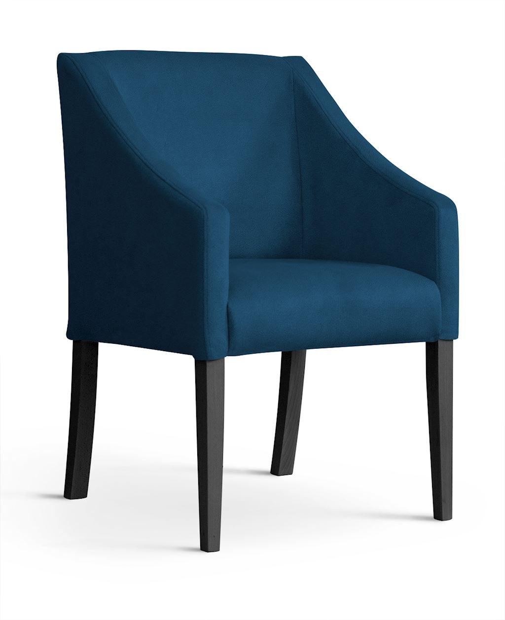 Fotoliu fix tapitat cu stofa, cu picioare din lemn Capri Navy Blue / Black, l58xA60xH89 cm imagine