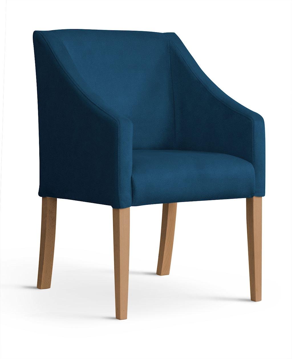 Fotoliu fix tapitat cu stofa cu picioare din lemn Capri Navy Blue / Oak l58xA60xH89 cm