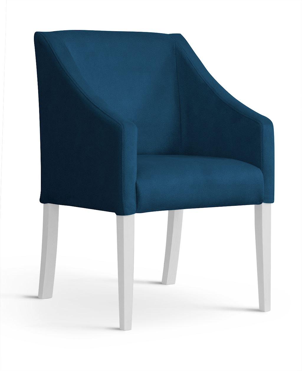 Fotoliu fix tapitat cu stofa cu picioare din lemn Capri Navy Blue / White l58xA60xH89 cm