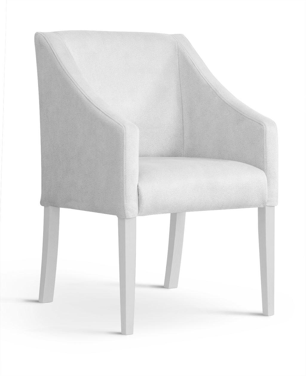 Fotoliu fix tapitat cu stofa, cu picioare din lemn Capri Silver / White, l58xA60xH89 cm