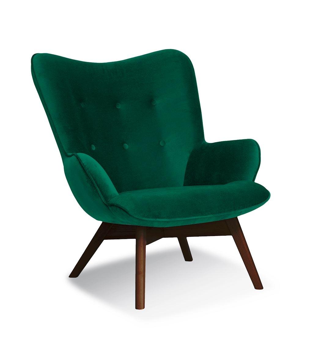 Fotoliu fix tapitat cu stofa cu picioare din lemn Cherub Green / Walnut l79xA91xH93 cm