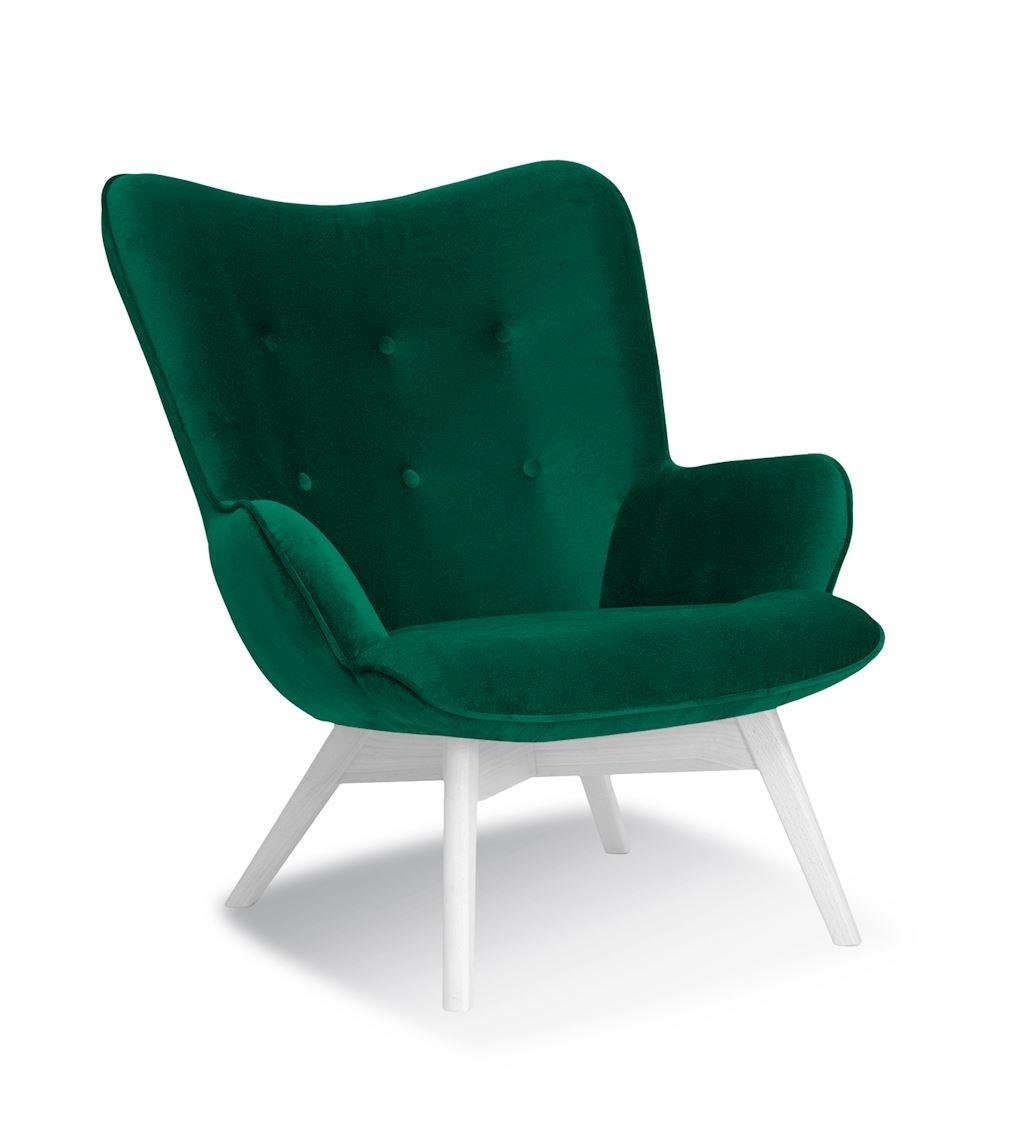 Fotoliu fix tapitat cu stofa, cu picioare din lemn Cherub Green / White, l79xA91xH93 cm