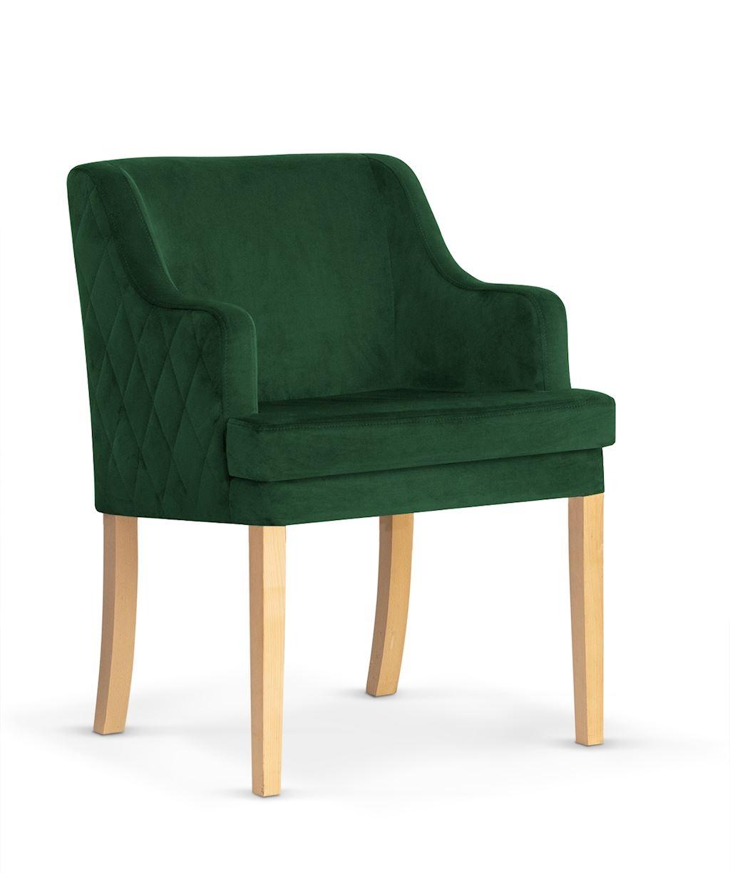 Fotoliu fix tapitat cu stofa, cu picioare din lemn Grand Green / Oak, l58xA60xH89 cm imagine